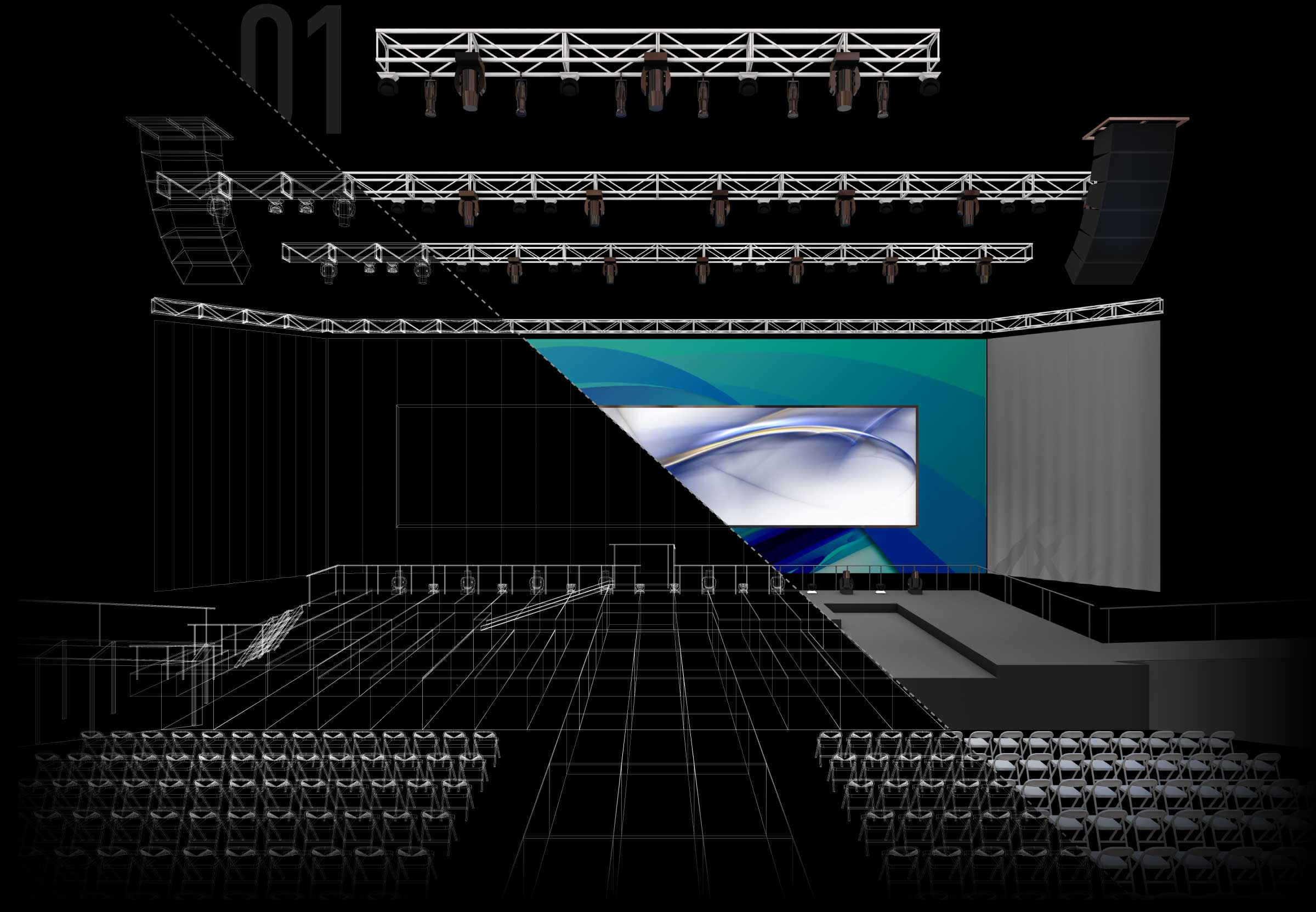 Venue design with drawings and 3D rendering